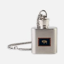 Wyoming Flag VINTAGE Flask Necklace