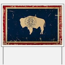 Wyoming Flag VINTAGE Yard Sign