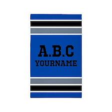 Blue Black Gray Sports Jersey Stripes Cus Area Rug