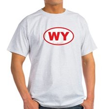 Wyoming WY Euro Oval RED T-Shirt