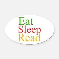 Eat Sleep Read Oval Car Magnet