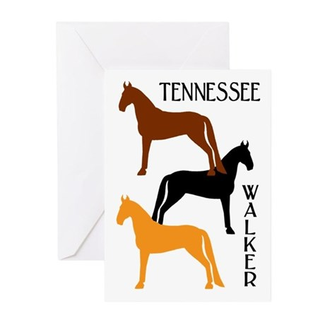 Tennessee Walkers in Colors Greeting Cards (Pk of