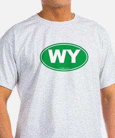 Wyoming WY Euro Oval GREEN T-Shirt