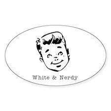 White & Nerdy Boy Oval Decal