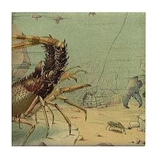 Vintage Marine Life, Shrimp Tile Coaster