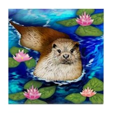 OTTER WATER LILIES Tile Coaster