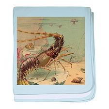 Vintage Marine Life, Shrimp baby blanket