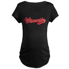 Wisconsin Script Font Maternity T-Shirt