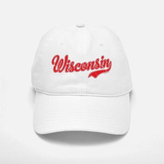 Wisconsin Script Font Vintage Baseball Baseball Baseball Cap
