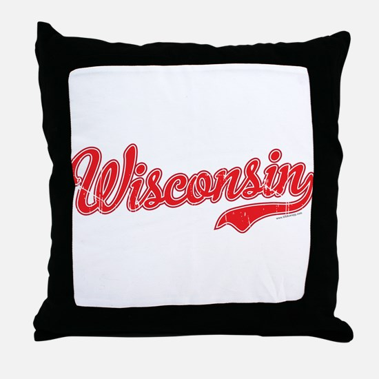Wisconsin Script Font Vintage Throw Pillow