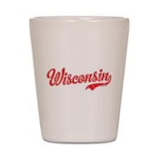 Wisconsin Script Font Vintage Shot Glass