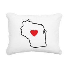 I Love Wisconsin Rectangular Canvas Pillow