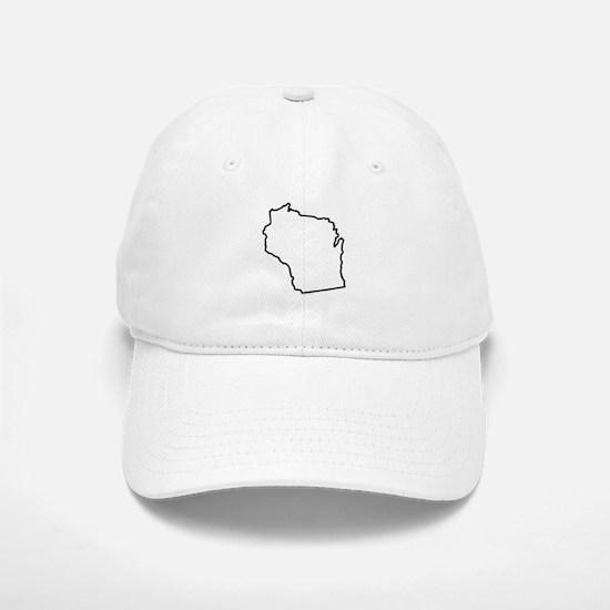 Wisconsin State Outline Baseball Baseball Cap