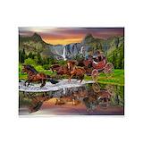 Wells fargo stagecoach Fleece Blankets