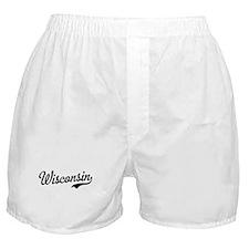 Wisconsin Script Black Boxer Shorts
