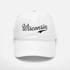 Wisconsin Script Black Baseball Baseball Cap