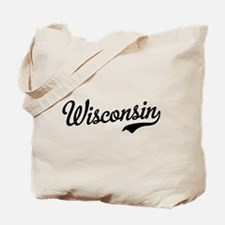 Wisconsin Script Black Tote Bag