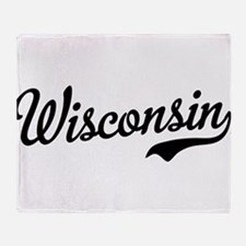Wisconsin Script Black Throw Blanket