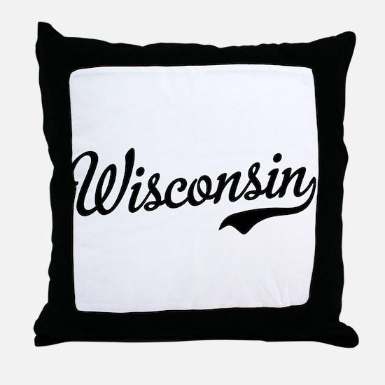 Wisconsin Script Black Throw Pillow