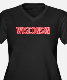 Wisconsin Je Women's Plus Size V-Neck Dark T-Shirt