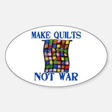 Make Quilts Not War Oval Decal