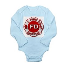 red white fire department symbol Body Suit