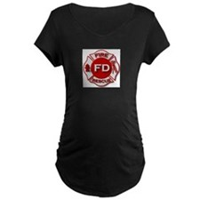 red white fire department symbol Maternity T-Shirt