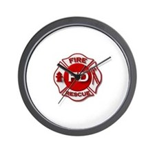 red white fire department symbol Wall Clock