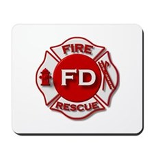 red white fire department symbol Mousepad