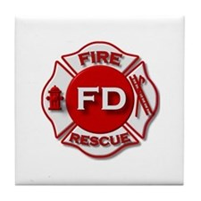red white fire department symbol Tile Coaster