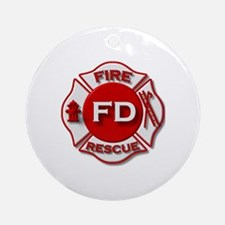 red white fire department symbol Ornament (Round)