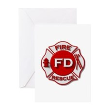 red white fire department symbol Greeting Cards