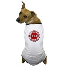 red white fire department symbol Dog T-Shirt