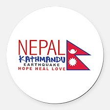 Nepal Earthquake Round Car Magnet