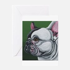 Pied French Bulldog Greeting Cards