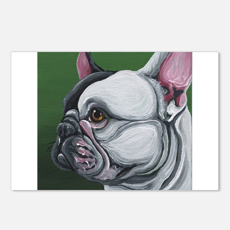 Pied French Bulldog Postcards (Package of 8)