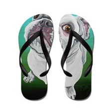 White French Bulldog Flip Flops