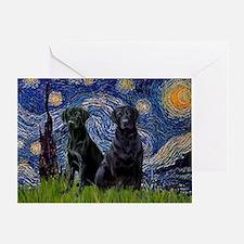 Starry Night & Black Labrado Greeting Card