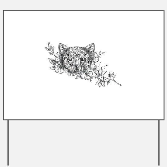 Cat Head Jasmine Flower Tattoo Yard Sign