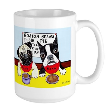 Dinner at the Diner Pug and Boston Large Mug