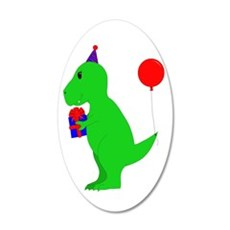 Birthday T-Rex 35x21 Oval Wall Decal