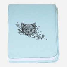 Cat Head Jasmine Flower Tattoo baby blanket