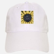 Sunflower Black Pug Dog Art Hat