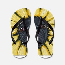 Sunflower Black Pug Dog Art Flip Flops