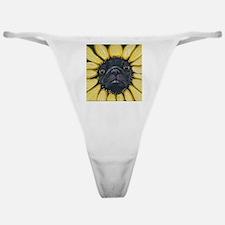 Sunflower Black Pug Dog Art Classic Thong