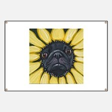 Sunflower Black Pug Dog Art Banner
