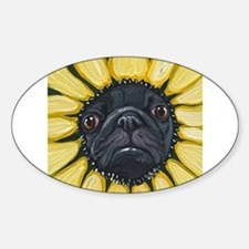 Sunflower Black Pug Dog Art Decal