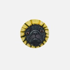 Sunflower Black Pug Dog Art Mini Button