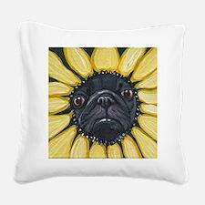 Sunflower Black Pug Dog Art Square Canvas Pillow