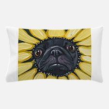 Sunflower Black Pug Dog Art Pillow Case